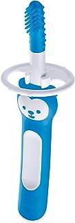 MAM Massaging Brush met zachte siliconen haartjes, kleine tandenborstel om baby's te laten wennen aan tandjes poetsen, bab...