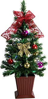 クリスマスツリー ファイバー セットツリー 四角ポット付 Moda レッド LEDファイバー セット 60cm