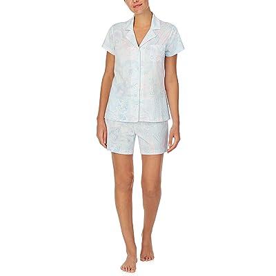 LAUREN Ralph Lauren Jersey Knit Short Sleeve Notch Collar Boxer Pajama Set (Mint Paisley) Women