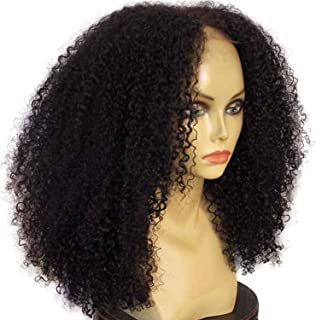 180% Density 136 Deep Part Brazilian Lace Front Human Hair Kinky Curly Wigs With Baby Hair Pre Plucked Natural Non-Remy,Natural Color,14inches