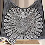 Bless International Indian Hippie Bohemian Psychedelic Peacock Mandala Wall Hanging Bedding Tapestry (Black White, Twin(54x72Inches)(140x185cms))