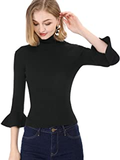 Allegra K Women`s Ruffle Long Sleeves Turtleneck Sweater Pullover Stretchy Knit Slim Fit Sweatshirt