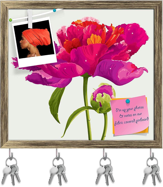 Artzfolio Red Peony Flower Key Holder Hooks   Notice Pin Board   Antique golden Frame 17.7 X 16Inch