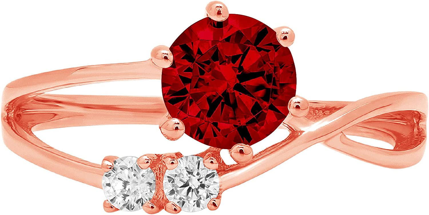 0.85 ct Round Cut 3 stone love Solitaire Genuine Flawless Natural Red Garnet Gemstone Engagement Promise Statement Anniversary Bridal Wedding Accent Ring Solid 18K Pink Rose Gold