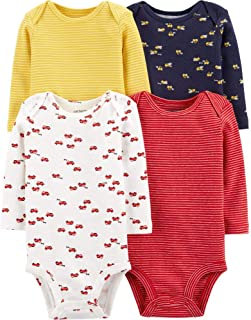 Carter's Baby 4 Pack Long Sleeve Bodysuit Set, Construction/Firetruck, 9 Months