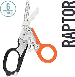LEATHERMAN - Raptor Emergency Response Shears with Strap Cutter and Glass Breaker, Black-Orange with MOLLE Compatible Holster