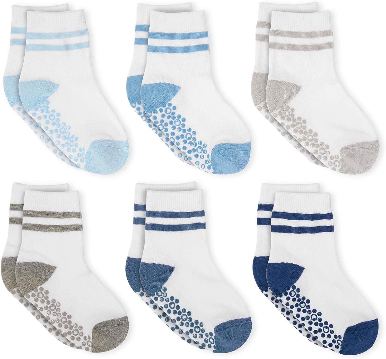 Anole Kids Athletic Crew Socks - 6 Pairs Grip Non Slip/Anti Skid Cozy Warm Socks - Boys & Girls