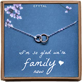 EFYTAL Mother of The Bride Gifts, Sterling Silver Two Tone Interlocking Circle Necklace for Mother in Law Gifts