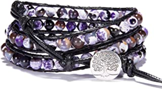 Bonnie Wrap Bracelet Leather Gemstones Beaded Tree of Life Button for Women