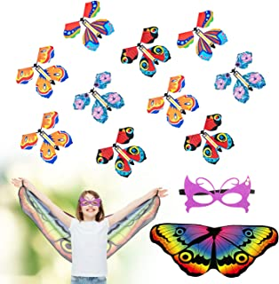 AMCEMIC 10 Pack Magic Flying Butterfly Card Surprise, Powered Magic Fairy Flying Toy with Butterfly Wings Costume Wind Up ...