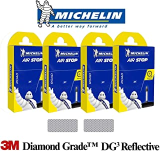 Michelin AirStop A1, A2, A3, A4, B4, C4 Bicycle Tubes Presta Valve 4 x Tubes Bundle with 3M Diamond Grade Reflextive Stickers for Road Bike MTB