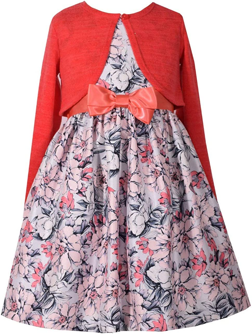 Bonnie Jean Girls' Special Occasion Cardigan Dress Set (8, Coral)