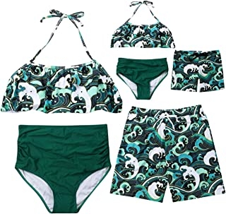 AMILIEe Family Matching Halter Ruffles Swimwear Mommy Daddy and Me Two Pieces Fruit Banana Print 2019 Bathing Suit