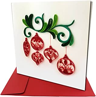 Red Christmas Ornaments Quilling Greeting Card, 6x6