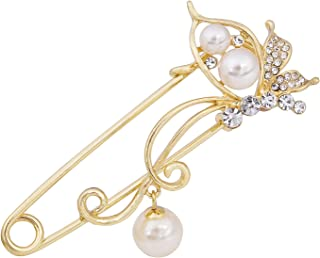 Rhinestone Pearl Butterfly Safety Pins Brooch Scarf Cardigan Sweater Clips Wedding Party Jewelry