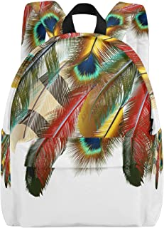 MALPLENA - Mochila para Hombre, diseño de Plumas de Pavo Real