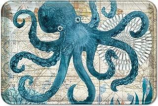 Uphome Sea Theme Memory Foam Bath Mat Blue Octopus Rubber Non Slip Bathroom Rugs Velvet Foam Coastal Navigation Map Bath Rug for Shower Floors, Summer Ocean Life Bathroom Decorations, 16x24