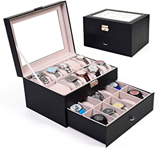 unbrand Large 20 Slot Leather Watch Box Display Case Organizer Glass Top Jewelry Storage