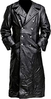 German Classic Officer k Black Leather Coat | Long Black Trench Coat