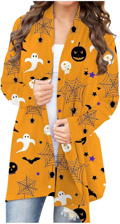 Gibobby Halloween Cardigan for Women,Women Long Sleeve Shirts Cute Pumpkin Graphic Print Blouse Sweaters Open Front Coat
