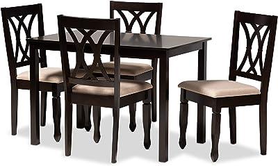 Baxton Studio Dining Sets, One Size, Sand Brown/Espresso