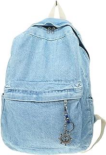 YunZh Denim حقيبة الظهر نمط عارضة جينز خفيفة الوزن حقائب الظهر الكلاسيكية السفر Daypack حقائب الكتب