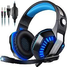 [9,99]Auriculares Gaming para PC PS4 PSP Xbox One , GameK2 Cascos Gaming, 3,5 mm Interfaz, Bass Surround Cancelación de Ruido, con Adaptador y Micrófono omnidireccional