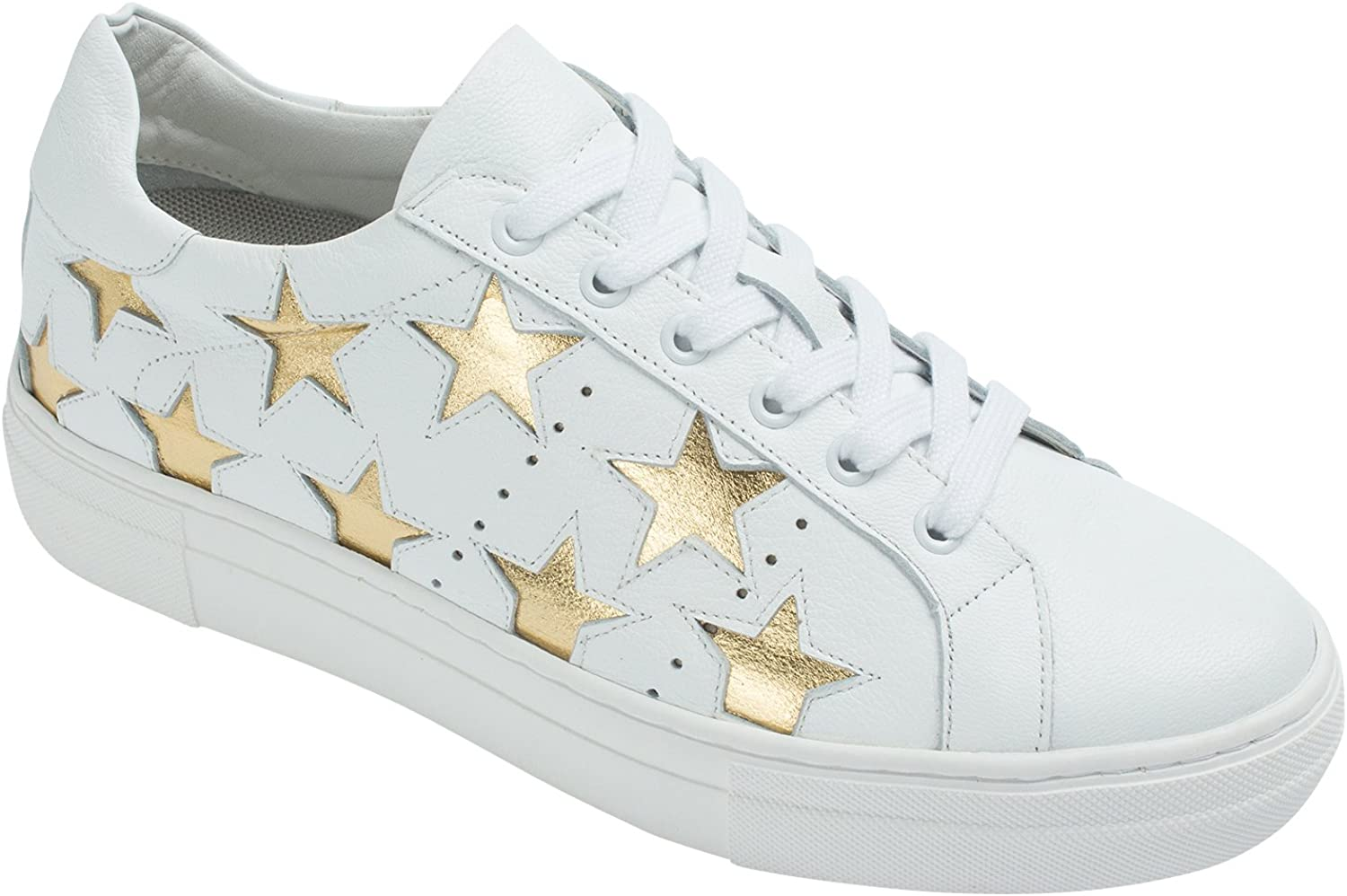 AnnaKastle Womens Genuine Leather Star Fashion Lace Up Platform Sneakers