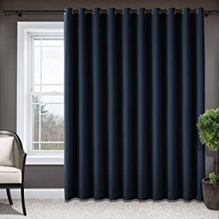 Frelement Extra Wide Blackout Patio Door Curtains Sliding Door Insulated Drape Privacy Protection Curtains Room Divider Grommets Living Room Panels - 120 X 84 inches, Navy, 1 Panel
