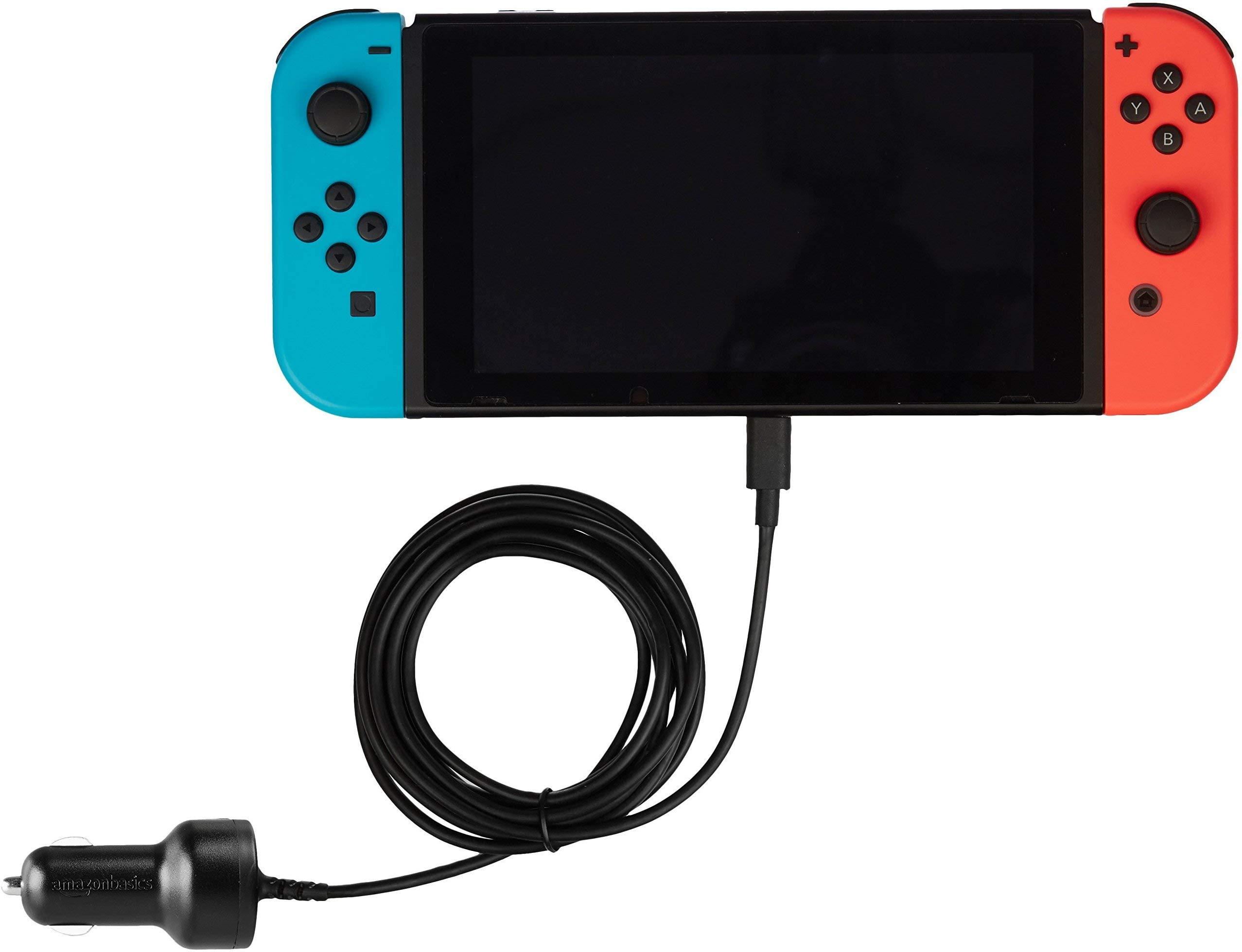 Amazon Basics Car DC Charger for Nintendo Switch - 6 Foot Cable, Black