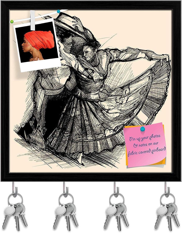 Artzfolio Latino Dance Key Holder Hooks   Notice Pin Board   Black Frame 20 X 20Inch