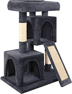 URPOWER Cat Tree, 3-Level Cat Tower 2 Plush Condos Furniture and Spacious Top Perch Cat Activity Tree with Sisal-Covered Scratching Posts and Ladder for Kittens Pet House