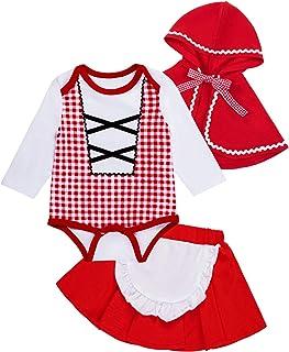 Baby Girls' Little Red Riding Hood Costume 3PCS Halloween Skirt Set with Cloak