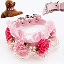 Bro'Bear PU Leather Adjustable Beaded Pet Necklace Dog Puppy & Cat Kitty Buckle Collar with 4 Strings of Pearls, Lace, Rhinestone & 4 Flowers for Small Animals Everyday Walking/Party/Holiday/Wedding/Birthday Accessories