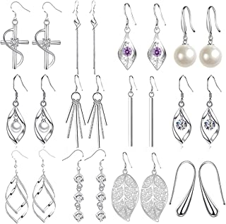 CARSHIER 12Pairs Classic Dangle Drop Earrings for Women Simple Double Twist Long Thread Fashion Silver Plated Earring Jewelry