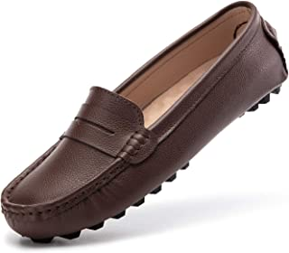 Artisure Women's Classic Genuine Leather Penny Loafers Driving Moccasins Casual Slip On Boat Shoes Fashion Comfort Flats