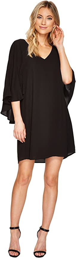 Deep V-Neck Back Capelet Dress