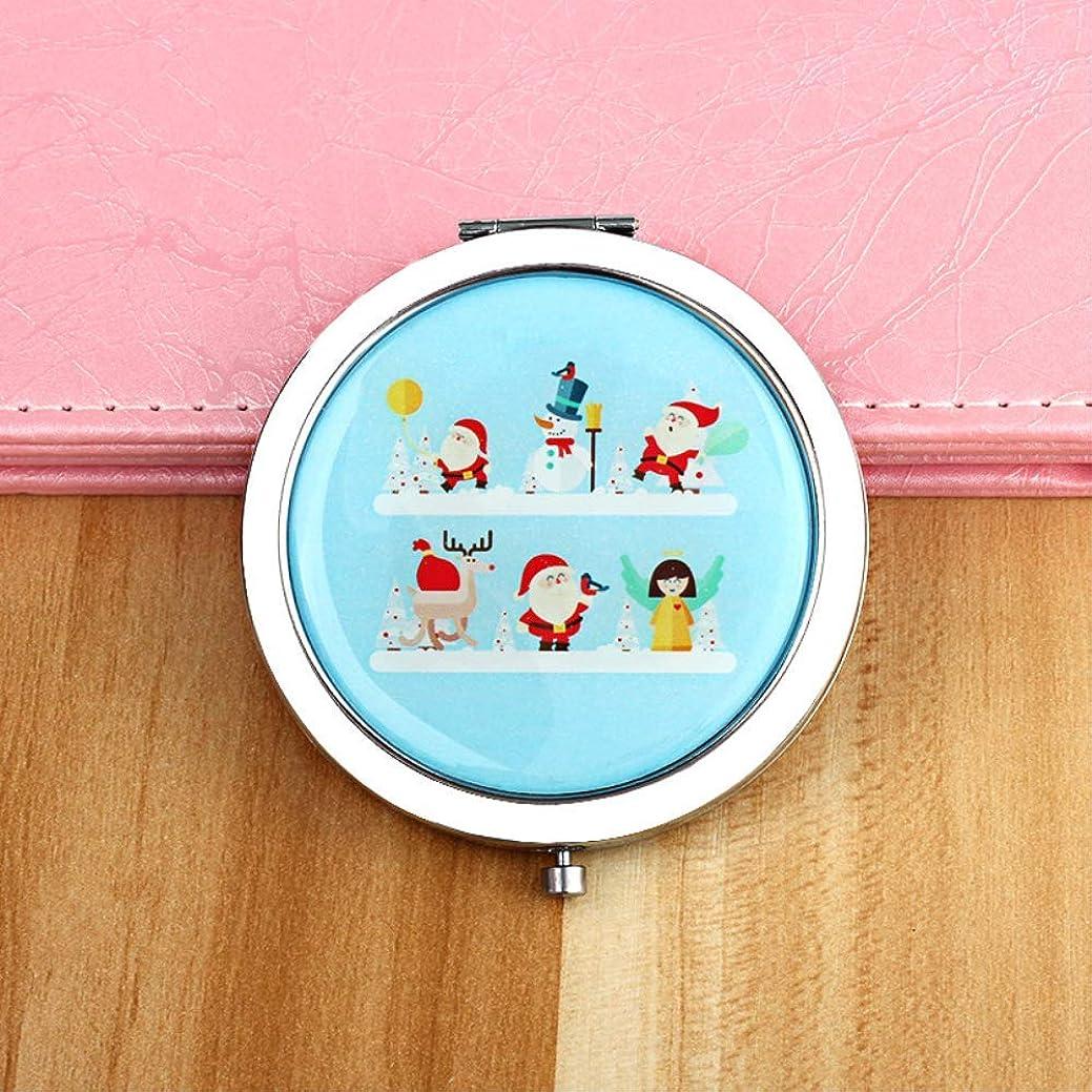 反映するベックス木小さな鏡を折り畳むポータブル漫画の美しさを運ぶかわいいメイク サンタクロース-ブルー