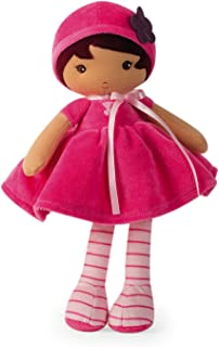 """Kaloo Tendresse My First Fabric Doll Emma K 12.5"""" Soft Plush Figure in Bright Pink Dress and Pink Striped Tights with Baby Safe Embroidered Face Machine Washable for Ages 0+"""