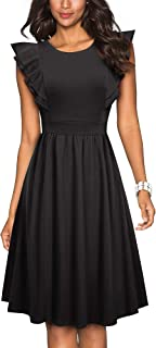 HOMEYEE Women's Vintage Ruffle Flared A Line Swing Casual Cocktail Party Dresses A143