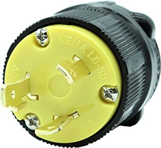 Journeyman-Pro NEMA L6-30P 30 Amp, 250 Volt, 2P, 3W, Locking Male Plug Connector, HJP-2621 Black Yellow Industrial Grade, Grounding 7500 Watts Generator (L6-30P Male Plug)