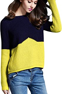 Locomo Women Girl Crew Neck Knit Two Tone Pullover Sweater Top FFK097YELL