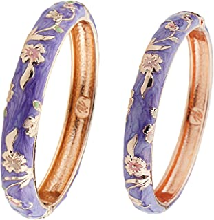 UJOY Designer Cloisonne Bracelets Indian Enameled Jewelry Open Cuff Clasp Hinged Bangle Sets with Gift Box for Women 55A111