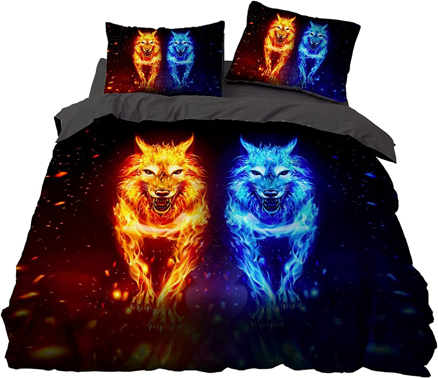 Fire and Ice Wolf Duvet Cover S Animal Many Finally popular brand popular brands Pattern Set Wild Bedding