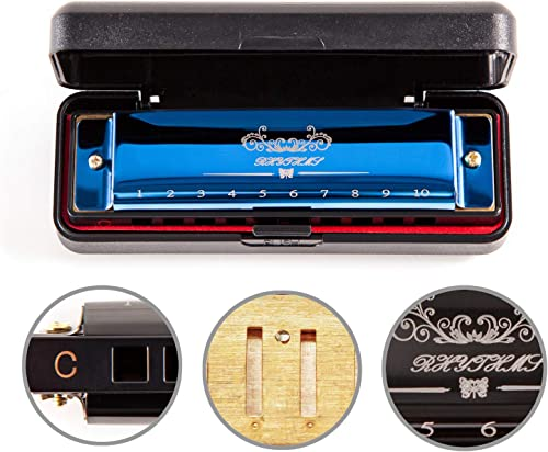 JSL Harmonica, Standard Diatonic Key of C 10 Holes 20 Tones Blues Mouth Organ Harp For Kids, Beginners, Professional,...