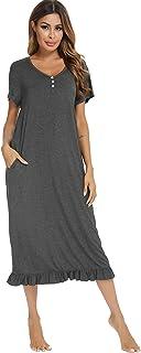 Vlazom Women's Long Nightgown V Neck Sleep Shirt Nightdress Jersey Nightshirt for Loungwear Sleepwear S-XXL
