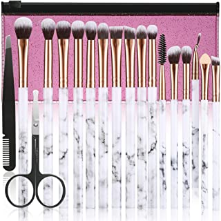 Makeup Brushes ALLFY 16Pcs Premium Synthetic Eyeshadow brushes Eyebrow Eyeliner Blending Marble Handle Brushes sets with Pink Cosmetic Bag Eyebrow Tweezers Nose Scissors