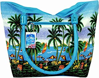 Water Resistent Palm Tree Canvas Beach Tote Bag Wood Balls Zipper Closure 21 X 15 X 6