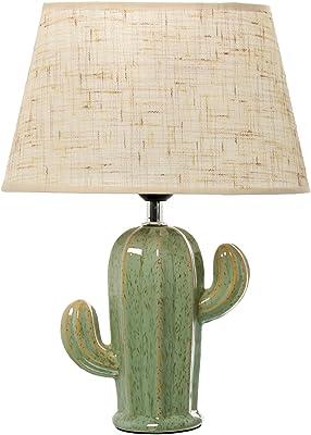 DonRegaloWeb–Lampe de Bureau en céramique en Forme de Cactus en Couleur Vert