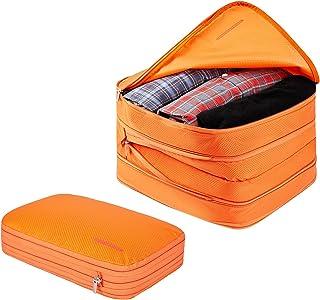مجموعة مكعبات تغليف مضغوطة من بي نيستنج لحمل الأمتعة وحقيبة السفر ومنظم أغراض للسفر (M + XL 9L / 26L ، برتقالي)